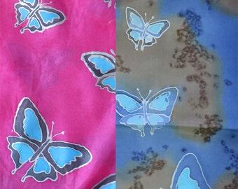 Hand Painted silk scarf - butterflies