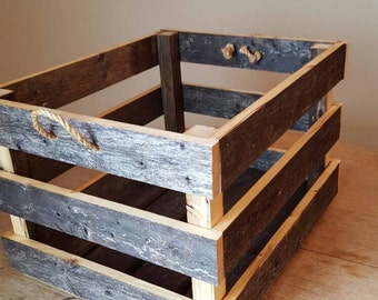 Large Rustic reclaimed fence wood crate