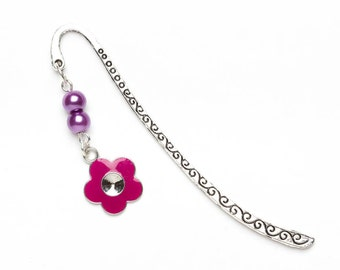 Sale | Purple Flower Bookmark | Book Lover's Gift | Girly Bookmark | Metal Charm Bookmark