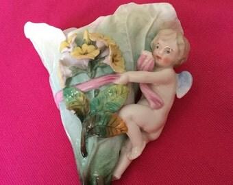 Beautiful Ceramic cherub wall pocket