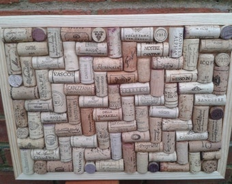 "Cork Pin / notice Board hand-crafted from used Wine Corks in unique Herringbone layout - size 16"" x 12"" (40 x 30cm )"