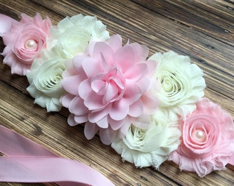 Vintage Shabby Chic Pink and Ivory  Maternity Sash, Baby Girl Maternity Sash, Elegant Maternity Sash, Photo Prop