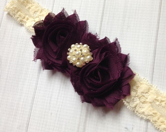 Eggplant Purple Shabby Flower Ivory Lace Headband, Photo Prop, Newborn Headband, Baby Headband, Toddler Headband, Girls Headband