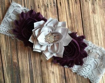 Eggplant Purple Shabby Flower Gray Lace Headband, Photo Prop, Newborn Headband, Baby Headband, Toddler Headband, Girls Headband