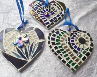 Hand crafted mosaic decorative hearts in a range of blues