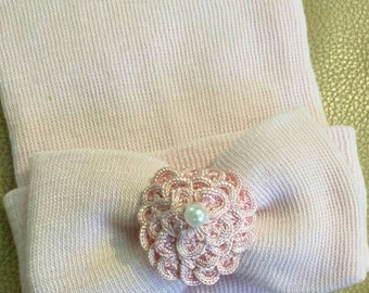 Newborn Hospital Beanie Hat. Pink Hat with Sweet Small Flowers! Newborn Beanie. Every Baby Girl Should Have! Great