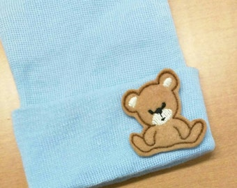 Newborn Hospital Hats with Teddy Bear Applique! You choose Hat Color. Perfect for New Baby. Newborn Hospital Beanie. Simpl