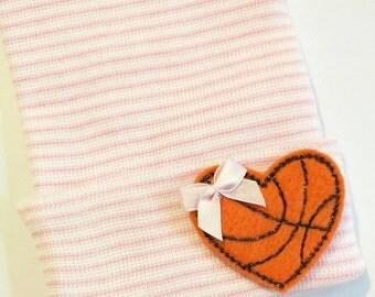 Newborn Hospital Hat.  Newborn Hospital Beanie. Heart Basketball with Bow. Great Gift for Newest Basketball fan! Gender Reveal