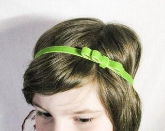 Lime Green Velvet Baby bow headband. Girls bow headband. Women headband. Newborn headband. Elastic headband. Gift. Photo shoot