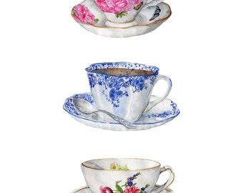 Watercolor Print 3 Lovely Teacups 8.5 x 11