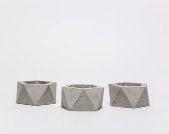 Geometric concrete candle holder, puristic concrete teacandle holder