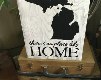 "Reclaimed Wood ""There's no place like Home"" - Michigan sign"