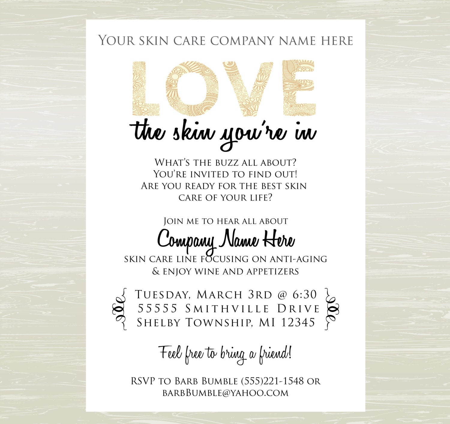 Skin Care Party Invite DIGITAL JPG ONLY – Arbonne Party Invitations