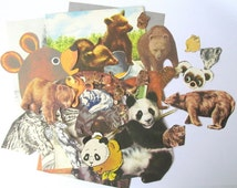 Bear paper ephemera kit: pack of 32 hand cut bear images from vintage books. Craft pack for scrapbooks, smash book, card making. EP347