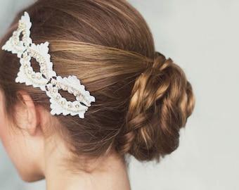 Wedding Lace Headpiece, Bridal Hair Accessory, white Lace Headpiece, Bridal Headpiece, Wedding headpiece, Wedding Hair Accessories