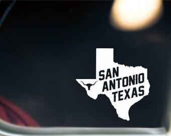 San Antonio Texas State Sticker For Car Window, Bumper, Or Laptop