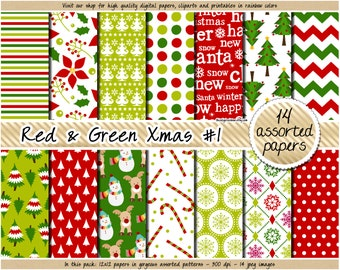 SALE christmas digital paper red and green christmas digital paper holiday digital paper pattern candy cane snowflake snowman tree mistletoe