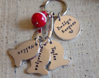 Fishing Hand stamped name saying Keychain with fish hook tackle Lure bobber Father's day gift for Dad Papa Grandpa Daddy Custom Personalized