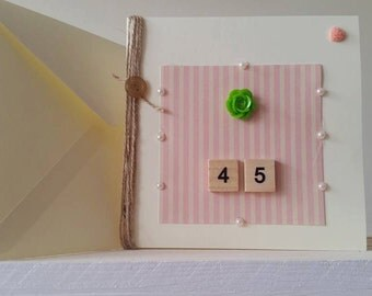 45th Birthday Card - Forty-Fifth Birthday Card - Candy Stripped Card - Scrabble Tile Card