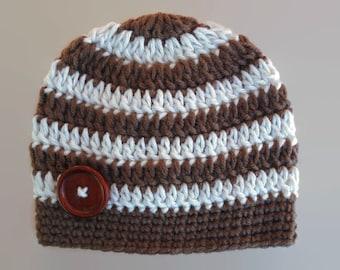 Crochet baby hat, newborn boy hat, crochet newborn hat, striped baby hat, button baby hat, newborn boy beanie, wool baby hat