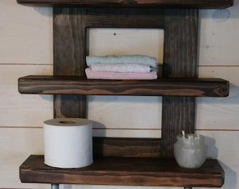 on sale rustic bathroom shelf industrial cast iron pipe towel bar espresso