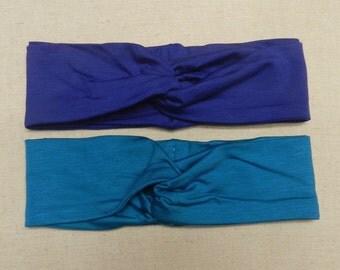 Blue Turban Twist Head Wrap, Blue Headband, Blue Headwrap