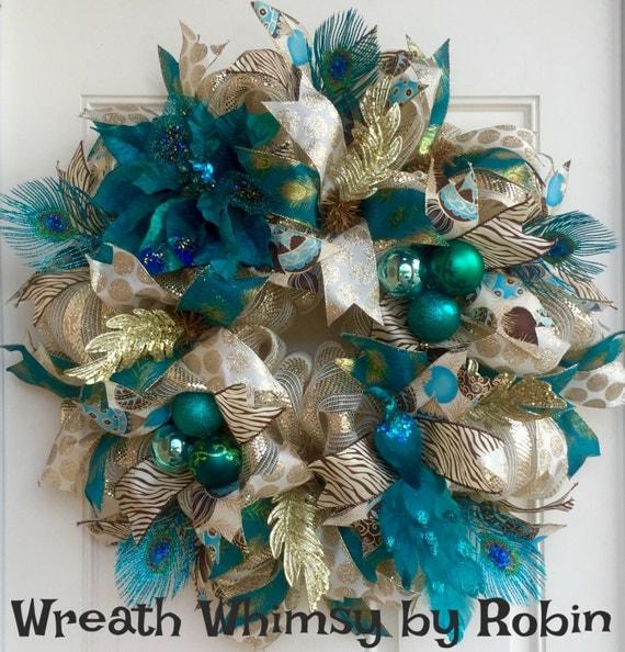 Peacock Teal Cream Amp Gold Holiday Deco Mesh Wreath Christmas