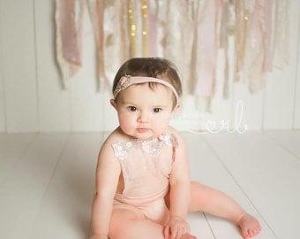 Newborn lace romper, peachy pink, floral, sitter, photo prop