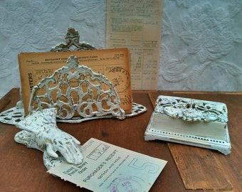 Letter Holder, Chic White Gold, Distressed, Hand Clamp, Stamp Box, Victorian Desktop Accessories, Chippy Worn Paint, Brass, Shabby Cottage