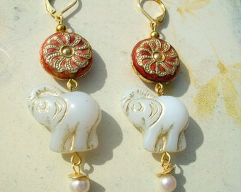 Elephant cloisonne Precultivation Pearl Earrings