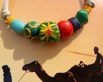 Trade beads glass Sun bead leather bracelet