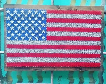 American Flag String Art, Large American Flag Sign, String Art Sign, Custom Made American Flag, Americana Decor, Patriotic Home Decor
