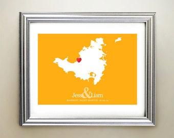 Saint-Martin Custom Horizontal Heart Map Art - Personalized names, wedding gift, engagement, anniversary date
