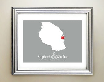Tanzania Custom Horizontal Heart Map Art - Personalized names, wedding gift, engagement, anniversary date