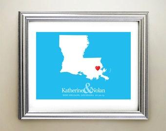 Louisiana Custom Horizontal Heart Map Art - Personalized names, wedding gift, engagement, anniversary date