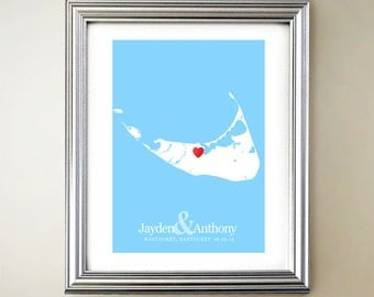 Nantucket Custom Vertical Heart Map Art - Personalized names, wedding gift, engagement, anniversary date