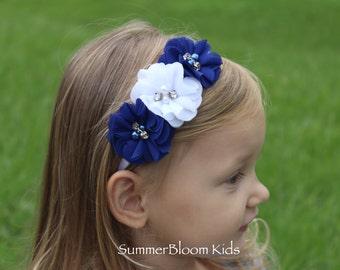 Royal blue headband, royal blue and white headband, royal blue toddler headband, royal blue hair accessory, royal blue flower headband