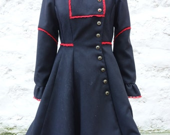 Coat victorian, gothic, with lace, high collar, black with red lace, lined