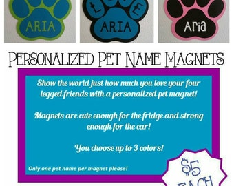 Personalized Pet Name Magnets