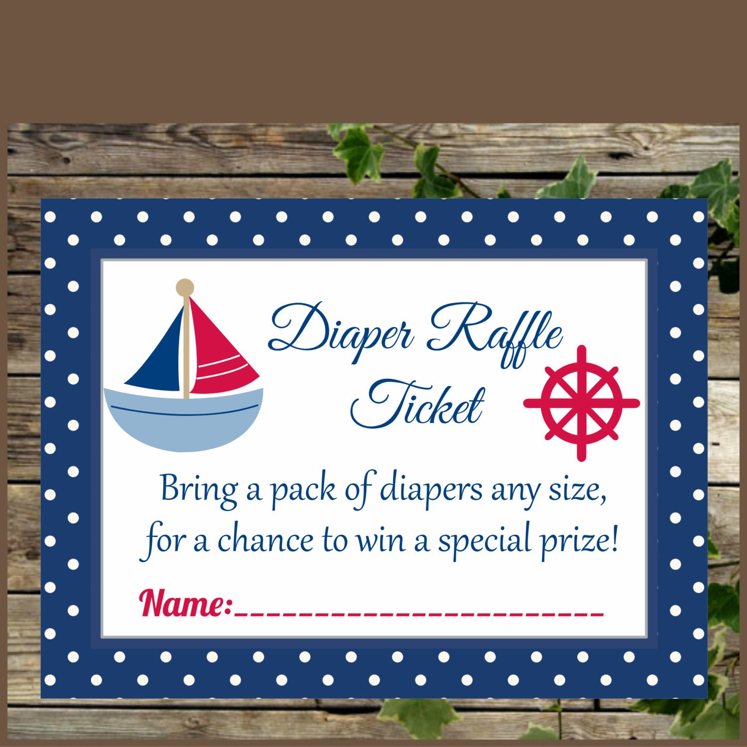 Baby Shower Diaper Raffle: Nautical Baby Shower Diaper Raffle Ticket Nautical