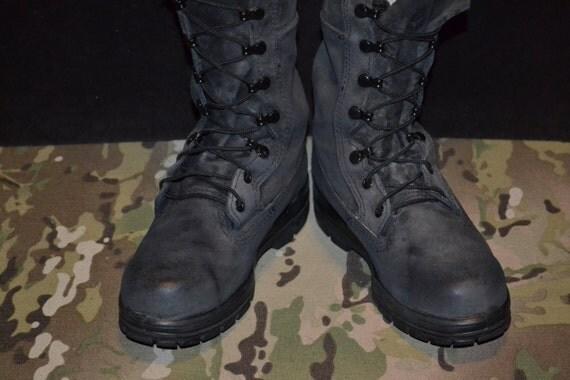 navy black suede steel toe boots