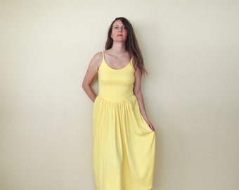 the most fantastic midi length JERSEY dress lemon yellow neon yellow sunshine spaghetti straps corset back backless sundress