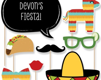 20 pc. Mexican Fiesta - Photo Booth Props - Mexican Theme with Mustache, Hat, Bow Tie, Glasses and Custom Talk Bubble