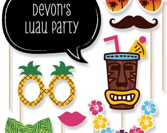 20 Luau Photo Booth Props - Luau Photobooth Kit with Custom Talk Bubble for Baby Shower, Birthday, Prom or Holiday Party Decorations