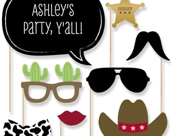 20 Little Cowboy - Western Photo Booth Props - Western Photobooth Kit with Custom Talk Bubble for Baby Shower or Birthday Party
