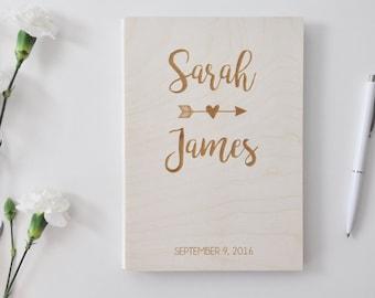 custom wood wedding guest book / album laser engraved