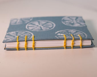 Small Handmade Journal with Coptic Stitch binding and block printed cover