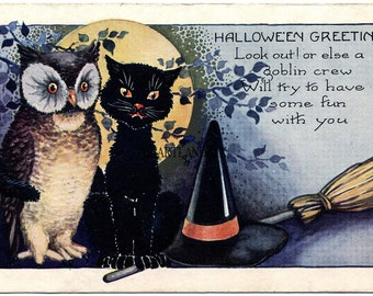 Owl and Black Cat Halloween Greetings Vintage Digital image Wall Art Download