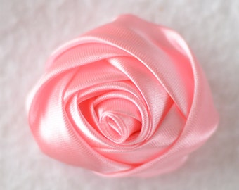 2 inch Rolled Rosette Flower Head, Wholesale Mini Rosettes for Baby Girl Headbands - Lot of 1, 2, 5 or 10, Pink