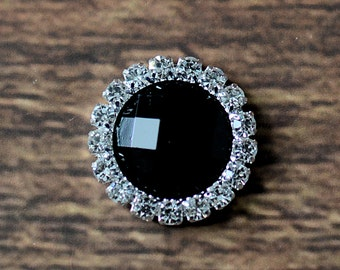 "0.75"" Rhinestone Jewels, Embellishments for Headbands, DIY Craft Supplies, Jewel Rhinestone Flatbacks LOT OF 1 or 2 Black Flat Backs"